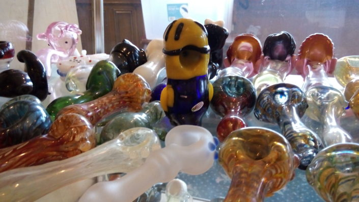 Various custom glass hand pipes at The Smoking Pipe Shop